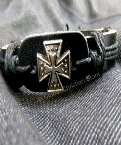 Small Cross Shaped Leather Bracelet