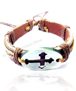 Inner Cross Silver Color Leather Bracelet