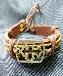Yellow Cross Leather Bracelet
