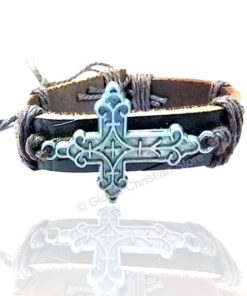 Silver Cross shaped Leather Bracelet