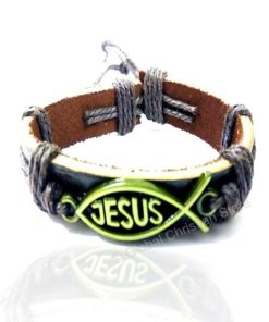 Jesus fish size Yellow Color Leather Bracelet