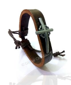 Big Cross Leather Bracelet