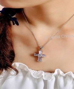 Elegant Cubic Cross Necklaces : Silver Color - Cross Shaped Christian Jewelry For Women