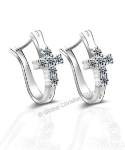 Silver Christian Earings with Crystal Cross - Earrings Jewelry for Women