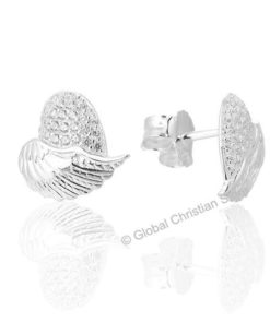 Angel Wings Stud Silver Earrings For Women
