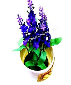 Flower pot with small purple flowers