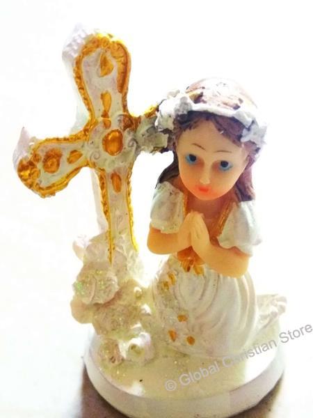 Kneeling Small Girl in front of Cross