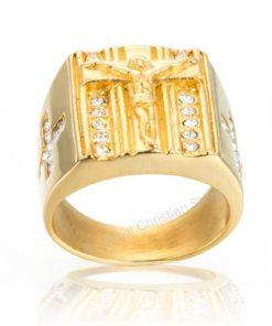 Hip Hop Holy Cross Signet Christian Gold Ring