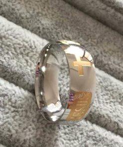Jesus Cross Letter Titanium Steel Silver Plated Christian Ring