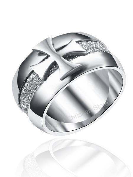 Silver Color Cross Stainless Steel Ring